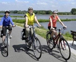 Radfahrer an der Elbe, © photocompany