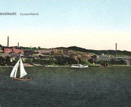 Die erste Dynamitfabrik der Welt in Geesthacht von Alfed Nobel auf dem Krümmel