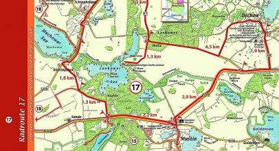 Beispiel eines Tourenvorschlags aus dem Kartenset, © Amt Lauenburgische Seen / KARTENWERK