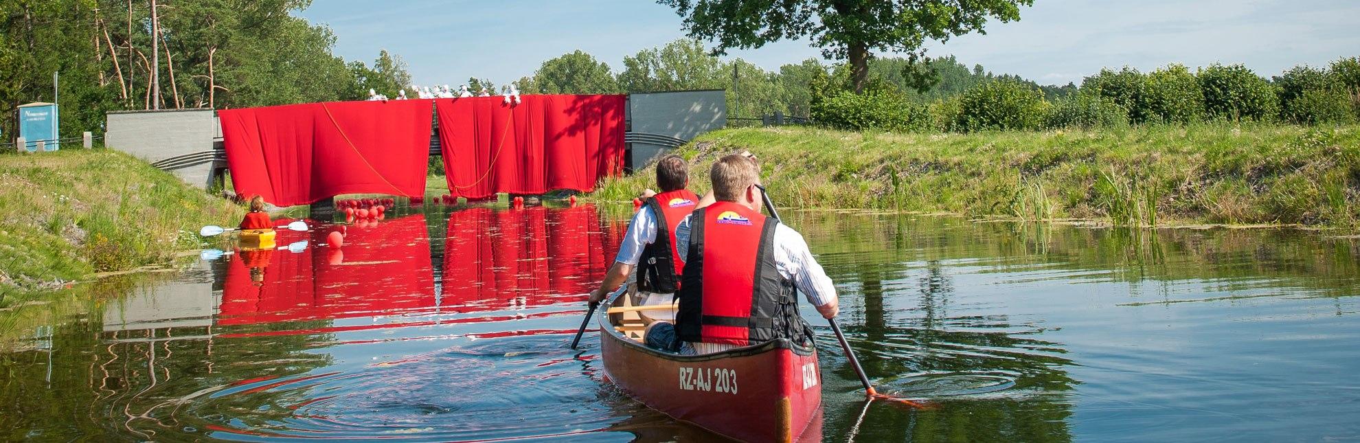 Auch beim Kanuwandertheater des Kultursommers am Kanal wird der Vorhang geöffnet., © Nicole Franke / HLMS GmbH